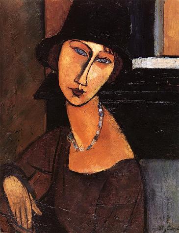 Портрет Жанны Эбютерн в шляпе и с бусами 1917 г