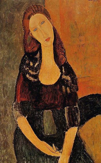 Портрет сидящей Жанны Эбютерн 1918 г