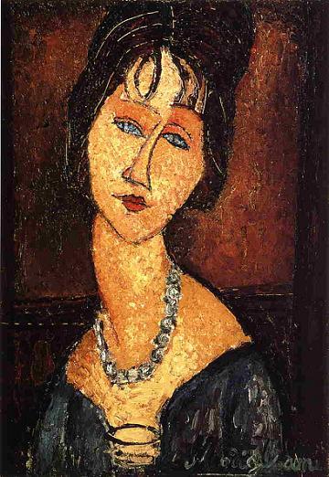 Портрет Жанны Эбютерн с бусами 1917 г